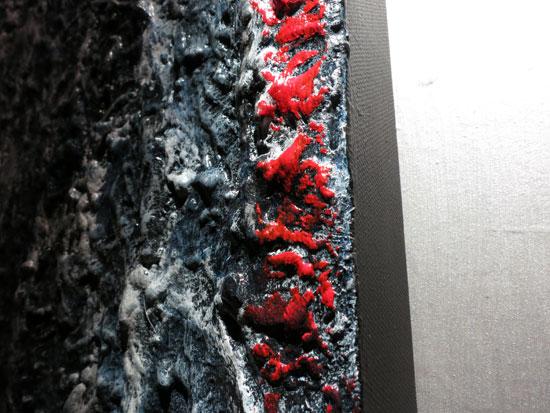 Un particolare dei quadri di Silvia Dayan, foto di Rodolfo Mazzoni