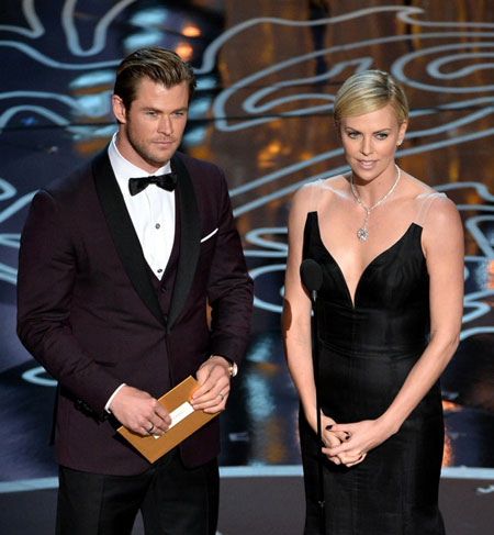 Chris Hemsworth, with Charlize Theron, wearing a Montblanc Meisterstück Heritage timepiece and Montblanc cufflinks, foto stampa