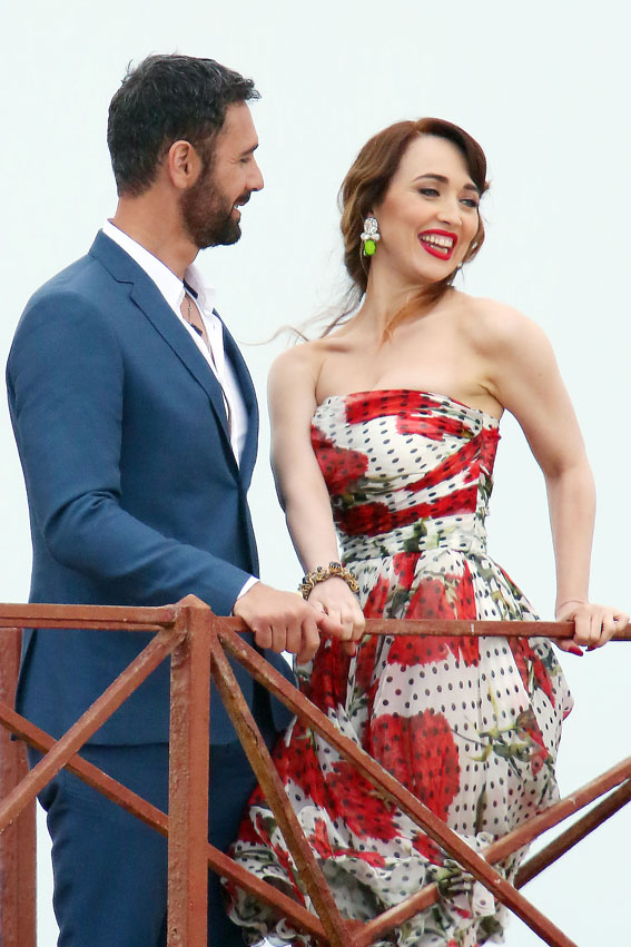 Chiara con Raoul Bova sul set, foto stampa
